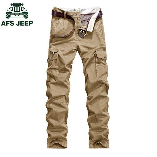 AFS JEEP 2017 Новый мужчины брюки-карго высокое качество бренда брюки мульти карманы в стиле милитари надомная брюки повседневные брюки Нет пояс