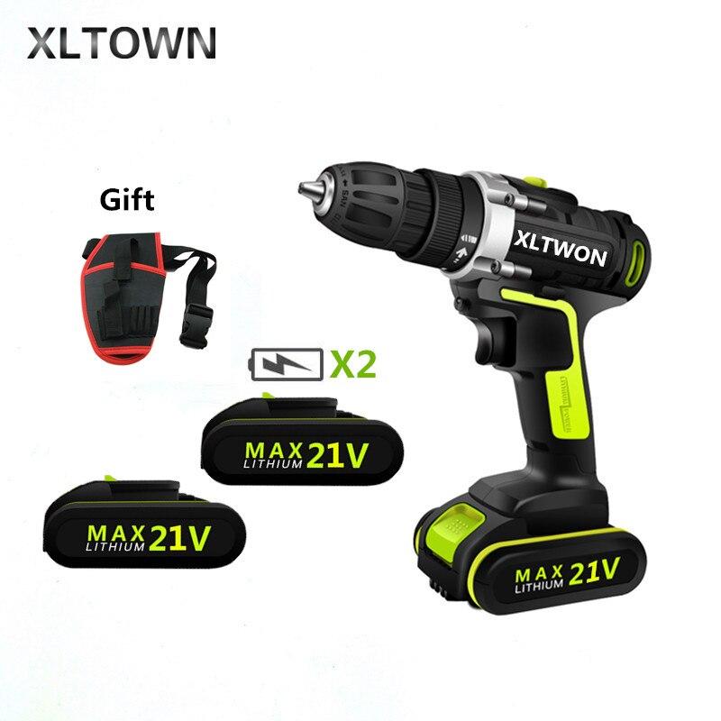XLTOWN 21 v tournevis électrique à deux vitesses avec 2 piles batterie au lithium rechargeable perceuse à main outils électriques à domicile perceuse sans fil