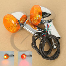 цена на Motorcycle Motorbike Amber Rear LED Turn Signal Indicator Lights For Harley XL883 XL1200 Sportster 92-16 95 99