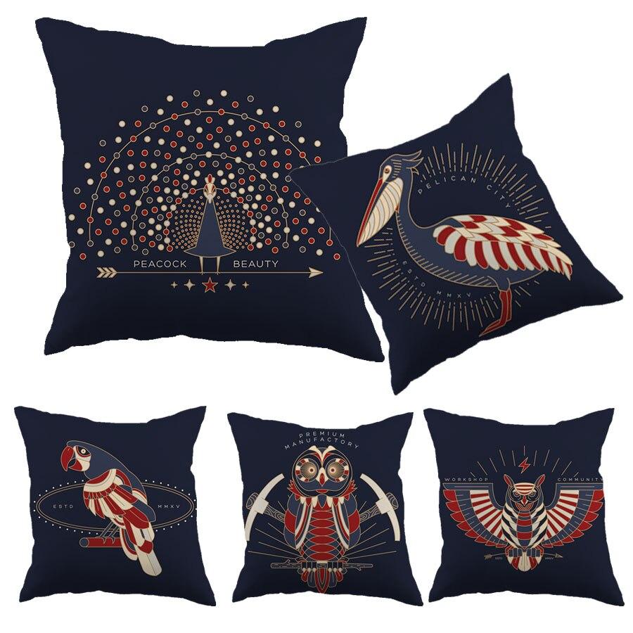 Housse de coussin en coton Liene Design oiseau motif paon bleu profond imprimé taie d'oreiller décorative housse de coussin de voiture à la maison