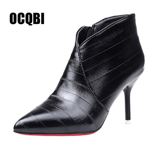 cf5cbdc3c00c7 Red Bottom High Heel Boots Women Autumn Winter Fashion Ankle Boots 2018  Black Matte Pointed Toe Ladies Shoes Sexy Zipper Booties