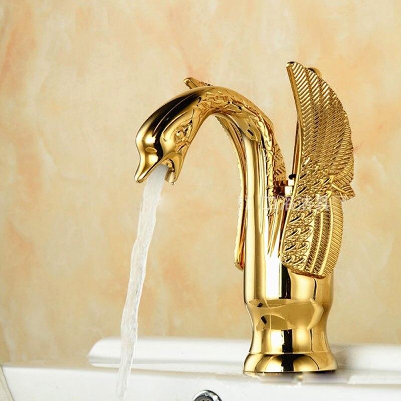 Cuivre de haute qualité tous les robinets dorés petit cygne bassin salle de bain ark nouveau robinet mitigeur d'eau chaude et froide robinet de bassin