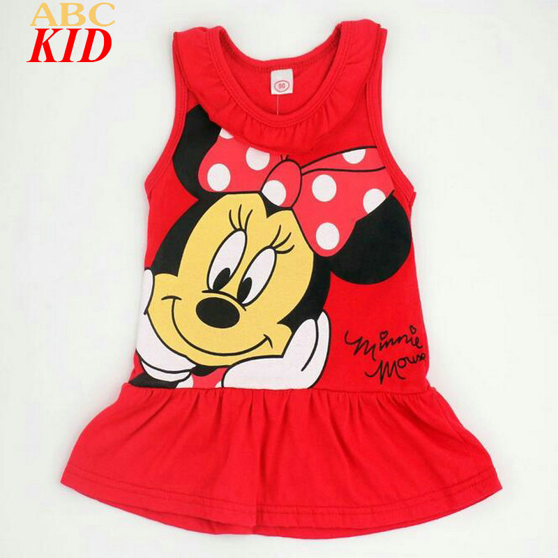 2017 Summer Baby Girl Dress Sleeveless Cartoon Minnie Dresses Kids Cotton Sleepwear Red Pink Dress Girls Clothes KD750