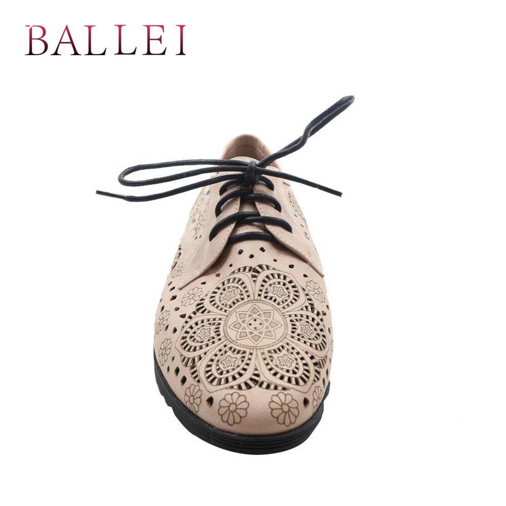 De Ballei Rond Qualité P14 Véritable À Cuir Rétro Appartements Apricot Vintage Talons En Bonne Fretwork Lacets Bout Femme Chaussures Rome Bas Luxe Ptqtxrw