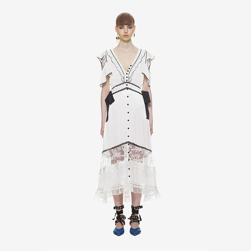 2a2b67f859 SP New Arrival 2018 Lace Striped Dresses Women Summer Party Off Shoulder  Slash Neck Dress Females Hollow Out Vestidos QWA2032-45