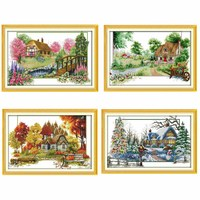 Four Seasons Pattern Counted Cross Stitch 11CT 14CT Cross Stitch Set Wholesale Cross Stitch Kit Embroidery