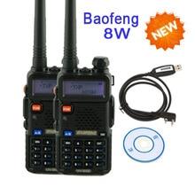walkie talkie pair baofeng  uv 5r uv-5r 8W UV8HX,vhf uhf funda walkie portable ham radio communicator+cable for talkie