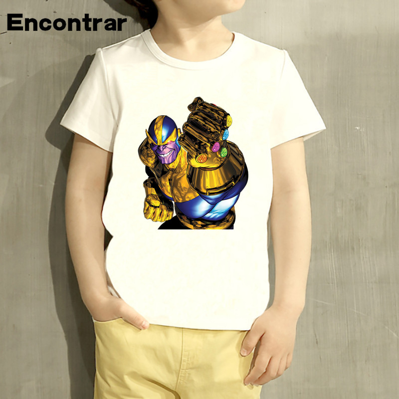Kids Gauntlet Thanos Avengers Villa Cartoon Design T Shirt Boys/Girls Short Sleeve Tops Children Cute T-Shirt,HKP6012 boys and girls teen titans go cartoon printed t shirt children great casual short sleeve tops kids cute t shirt