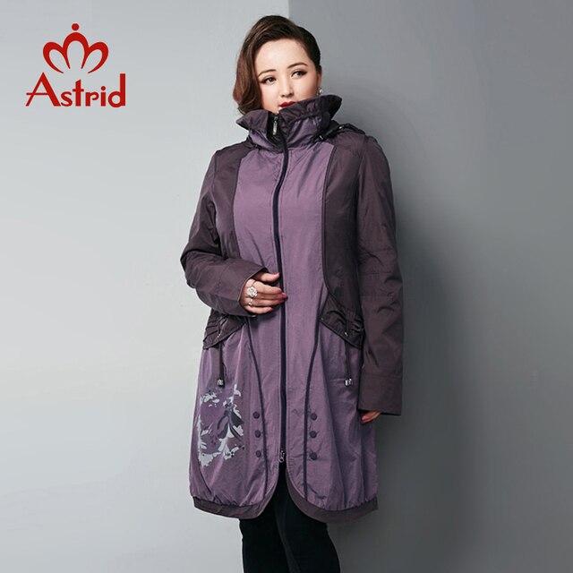 Астрид Весенняя женская ветровка с капюшоном Большие размеры с Пальто с пуговицами длинные фиолетовые элегантные Тренч AS12-5175