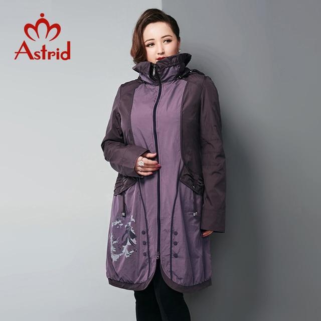 Astrid Весна для женщин ветровка куртка с капюшоном принтом на пуговицах пальто Длинные Фиолетовый элегантный Тренч AS12-5175
