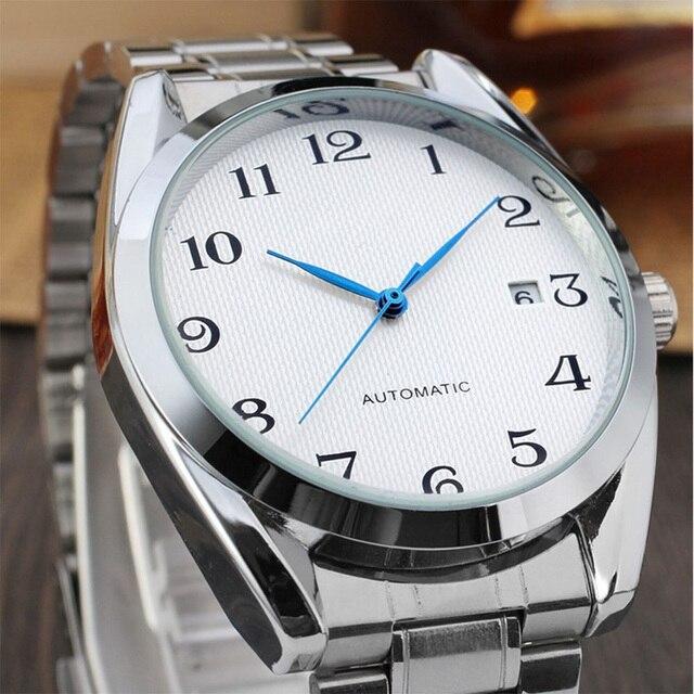 a6f74f17abd8 Reloj Automático para hombre moda marca negocios Relojes automáticos Acero  inoxidable esqueleto mismo-viento reloj