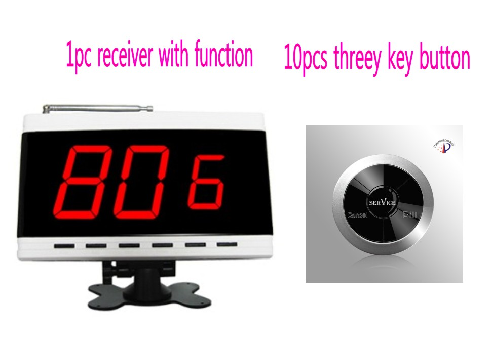 Wireless service system,  screen receiver display room/table number and requests of customer, 10pc three key waiter call button Wireless service system,  screen receiver display room/table number and requests of customer, 10pc three key waiter call button