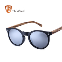 HU WOOD Brand Designer Polarized Sunglasses Men Plastic Frame Wood Earpieces Fashion Oval Sun Glasses Mirror