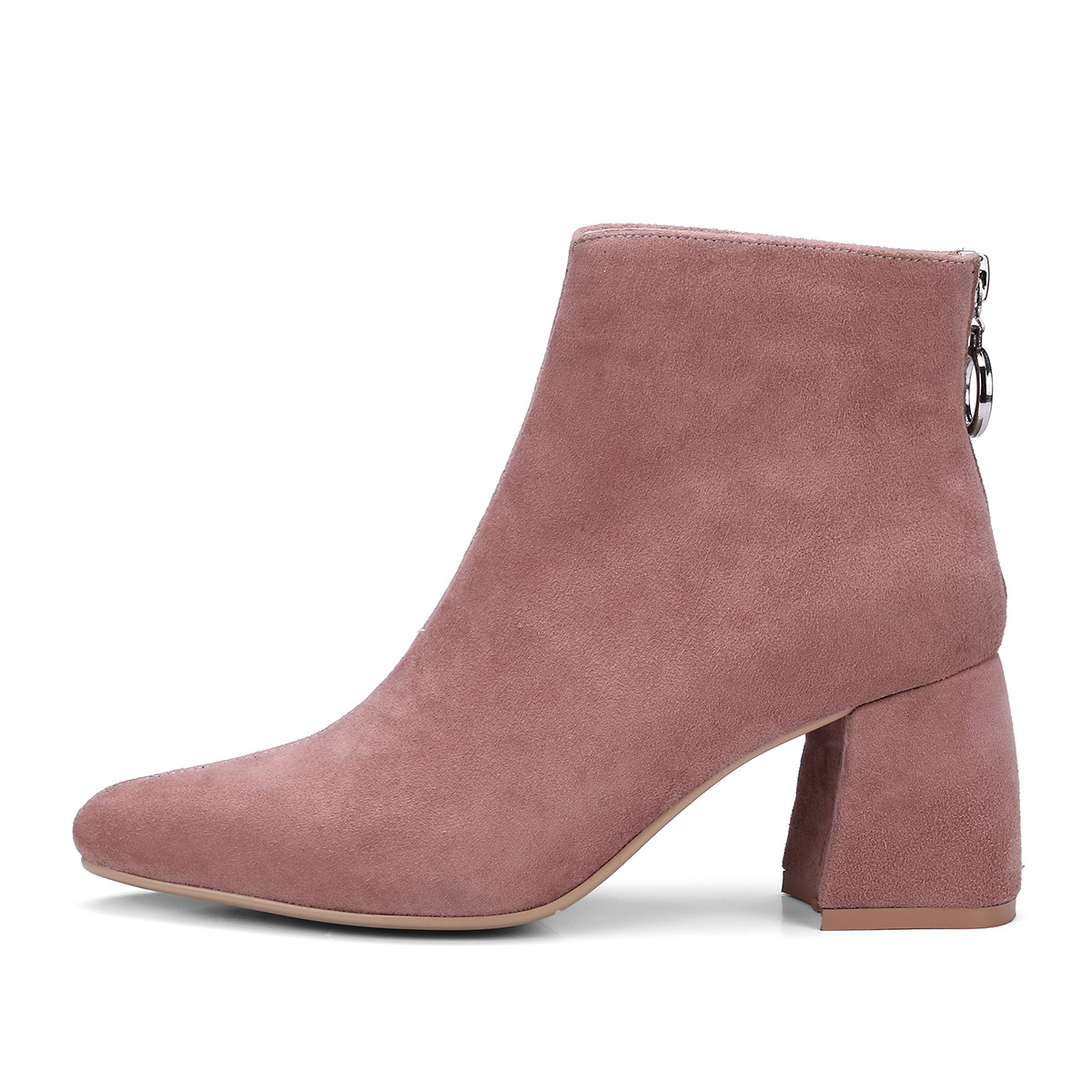 New Winter Women Suede High Heels Martin Boots Pointed Toe Zipper Booties Genuine Leather Chunky Heel Ankle Boot Shoes Nude Pink elegant beige high heel 2017 booties autumn chunky metal genuine leather luxury brand shoes women boots short ankle pointed toe