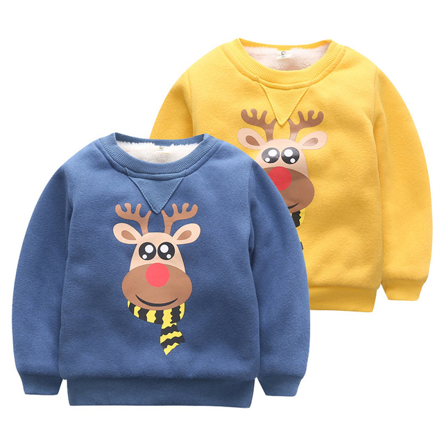 Kids Girls Baby Clothes Winter Thick Plus Velvet Cartoon Deer Sweatshirt Girls Tops Boys Blouse New Year Clothing Pullover Shirt