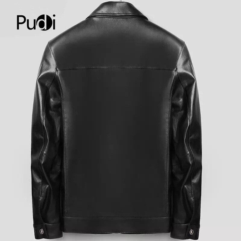 PUDI MT816 2018 ผู้ชายใหม่แฟชั่น sheep หนังแจ็คเก็ตกับ turn   down collar ฤดูใบไม้ร่วงฤดูหนาว casual outwear-ใน แจ็กเก็ต จาก เสื้อผ้าผู้ชาย บน   2