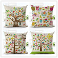 Creative Hand Color Cotton And Linen Owl Digital Printed White Sofa Seat Back Cushion Is Suitable For The Office Pillow
