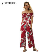 Yovamoo Jumpsuits For Women 2018 New Floral Print Off The Shoulder Summer High Waist Wide Leg Trousers Rompers Womens Jumpsuit