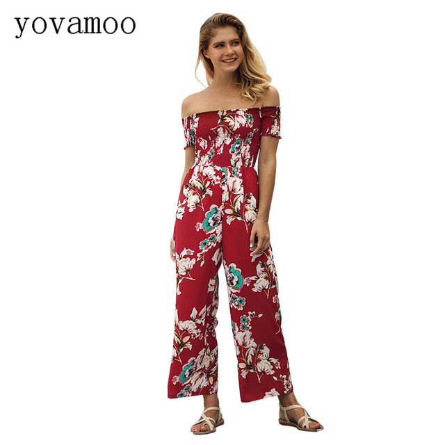 8b0c77375e Yovamoo Jumpsuits For Women 2018 New Floral Print Off The Shoulder Summer High  Waist Wide Leg Trousers Rompers Womens Jumpsuit