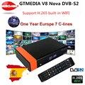 Рецептор Gtmedia V8 Nova встроенный WIFI питание от freesat v8 super DVB-S2 1 год Clines Cline для 1 года ТВ-приставка такая же  как V9 Super