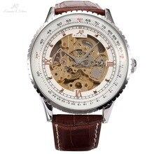 Ks royal talla vintage brown correa de cuero automático de los hombres esqueléticos mecánicos wrap relogio regalo auto wind watch/ks111