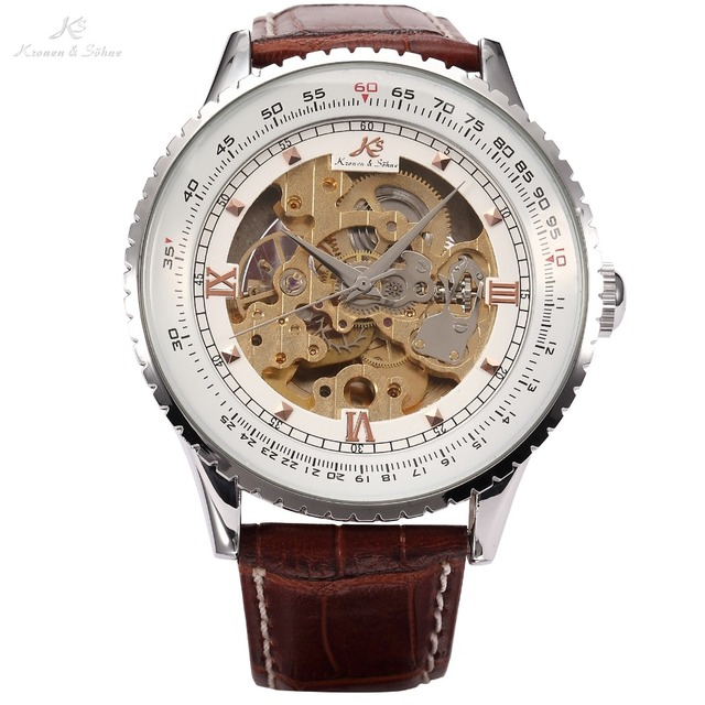 Ks Royal Carving Vintage Brown Leather Strap Automatic Mechanical Skeleton Men's Wrist Wrap Gift Relogio Self Wind Watch / KS111