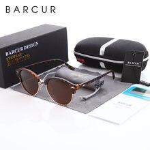 Barcur Ретро Круглые Солнцезащитные очки для мужчин Роскошные