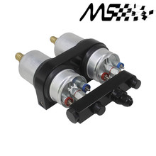 Twin 044 Fuel Pump Billet Aluminium Assembly OUTLET Manifold In Black with fuel pump