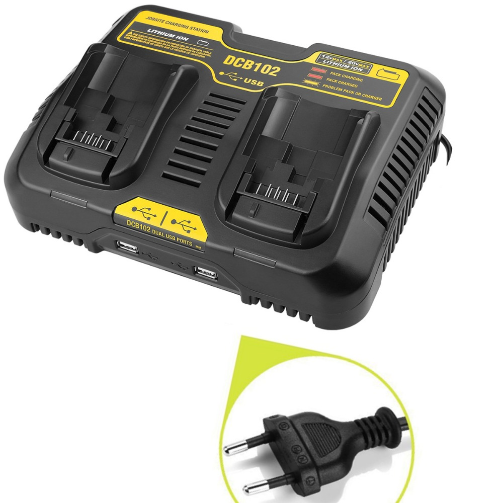 Fast charging DCB102 Li-ion Battery charger For DeWalt 12V 14.4V 18V 20V DCB105 DCB200 double charging postion with USB PortFast charging DCB102 Li-ion Battery charger For DeWalt 12V 14.4V 18V 20V DCB105 DCB200 double charging postion with USB Port