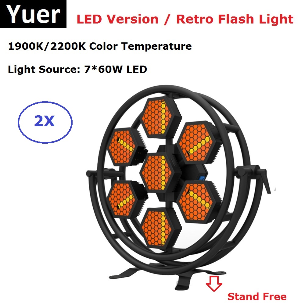 2IN1 Flight Case Packing 7X60W LED Stage Lights DMX 512 Controller Professional Retro Flash Lights For Dj Light Stage Party Club
