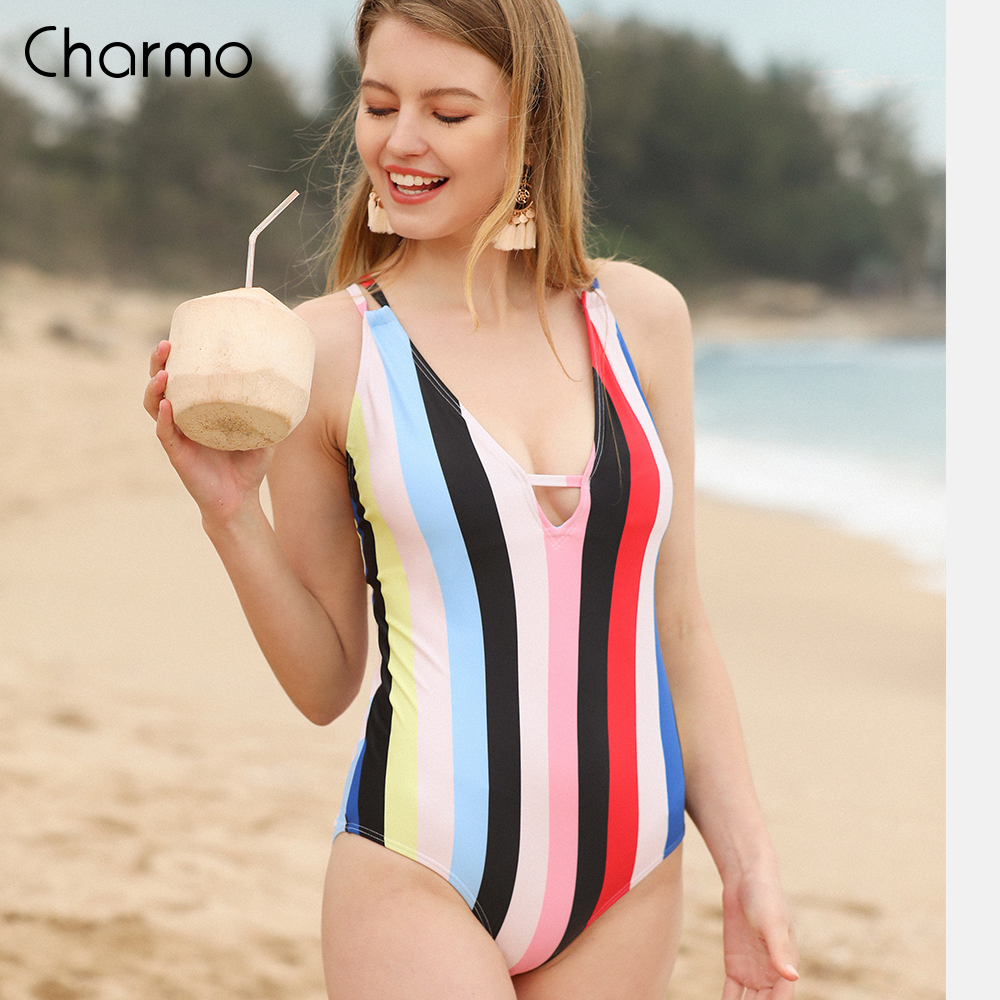 Charmo vintage One Piece Women Swimwear Retro Floral Print Swimsuits Deep V Sexy Monokini Back Cross Bandage Beach Wear in Bikinis Set from Sports Entertainment