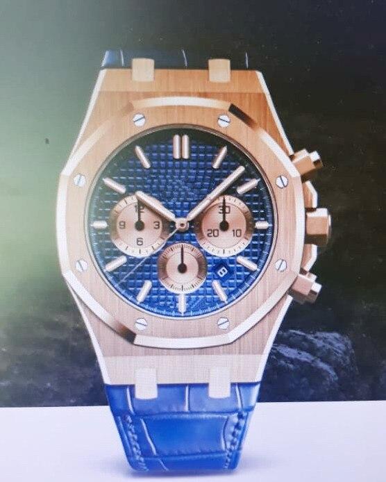 Nouveau chronographe de luxe hommes chronomètre saphir cristal bleu cuir or Rose montres de Sport en acier inoxydable limitée AAA +