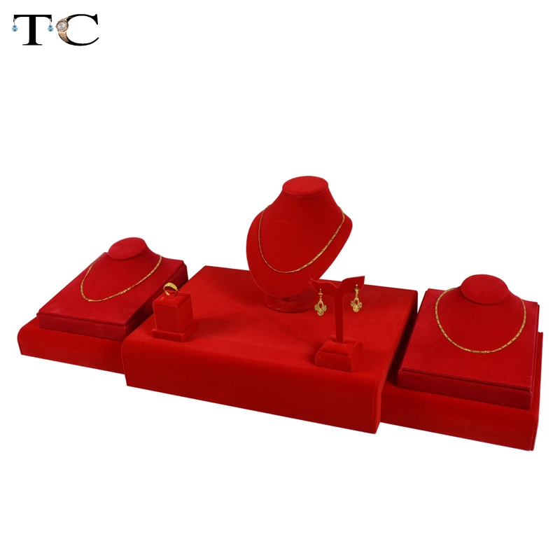 Free Shipping Jewelry Display For Earrings Showcase Red Velvet Pendant Holder Necklace Stand Ring Rack Oragnizer Cases
