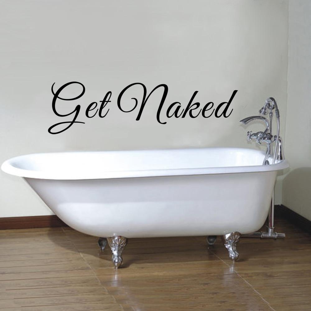 Wall art decals for bathroom - Get Naked Vinyl Wall Decal Bathroom Wall Sticker Bathtub Wall Art Quote 20cm X 71cm