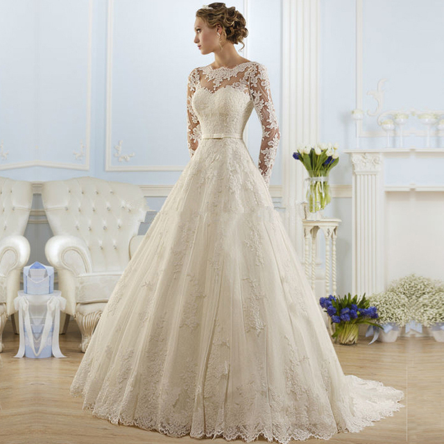 Ball Gown Bateau Appliqued Sexy Backless Lace Bridal Dresses vestido de noiva robe de mariage Cheap Long Sleeve Wedding Dress
