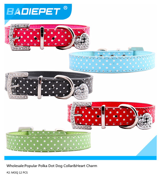 Wholesale MOQ 12PCS Popular Polka Dots Dog Collar With  Heart Pendant Charm,10% off for 2 lots