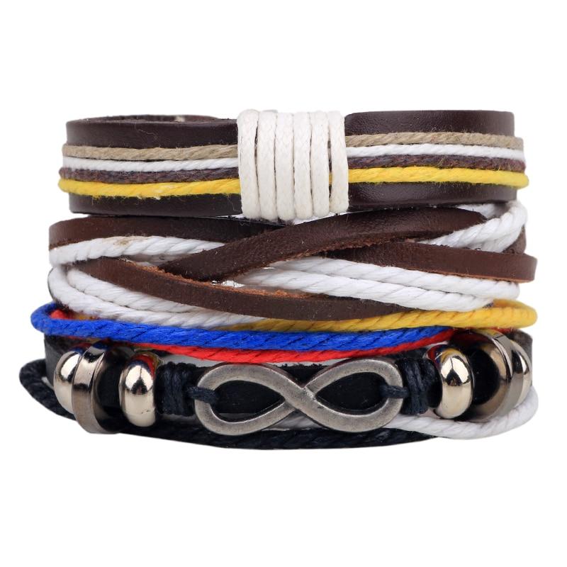 5pcs/lot Vintage Male Handmade Leather Bracelet Bangle Boho Infinity Friendship Braslet Man Wrist Band Pulseira Masculina Couro