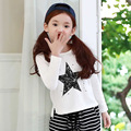 baby teenage girls t shirts girl top long sleeve 2017 new spring autumn pentagram white t-shirt for girl kids clothes tees