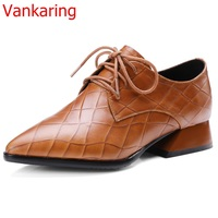 Vankaring Large Size Soft Comfortable Women Fashion Single Shoes Water Stained Leather British Style Christmas Gift