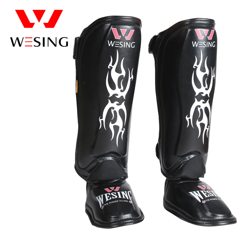 Wesing Muay Thai Protège-tibias de Karaté Pied Protecteur Tige Jambe Kickboxing Jambe Manches Protecteur MMA Genou Garde Rouge Noir