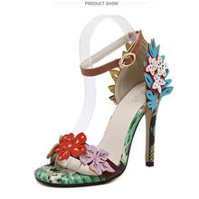 2016 New Arrived Vogue Women Shoe Color Decals Snakeskin pattern High Heel Sandals Sexy Stiletto/Party Wedding Shoes Plus Size