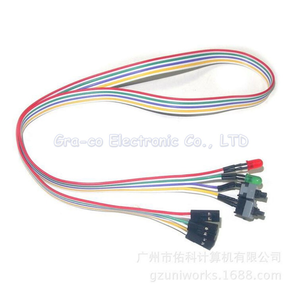 10pcs Computer Host Restarting Power cable Computer Chassis LED + Switch Cable