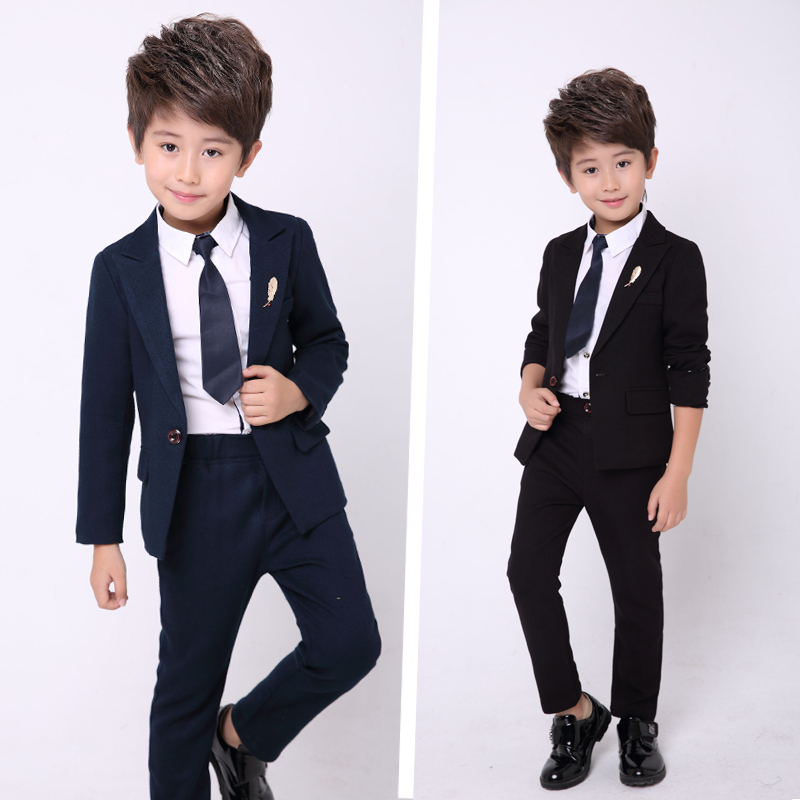 New Children Clothing Set England Gentleman Boys Party Wedding Suits Baby Boy Formal Solid Long-Sleeved Sets Kids Clothes gentleman baby boy clothes black coat striped rompers clothing set button necktie suit newborn wedding suits cl0008