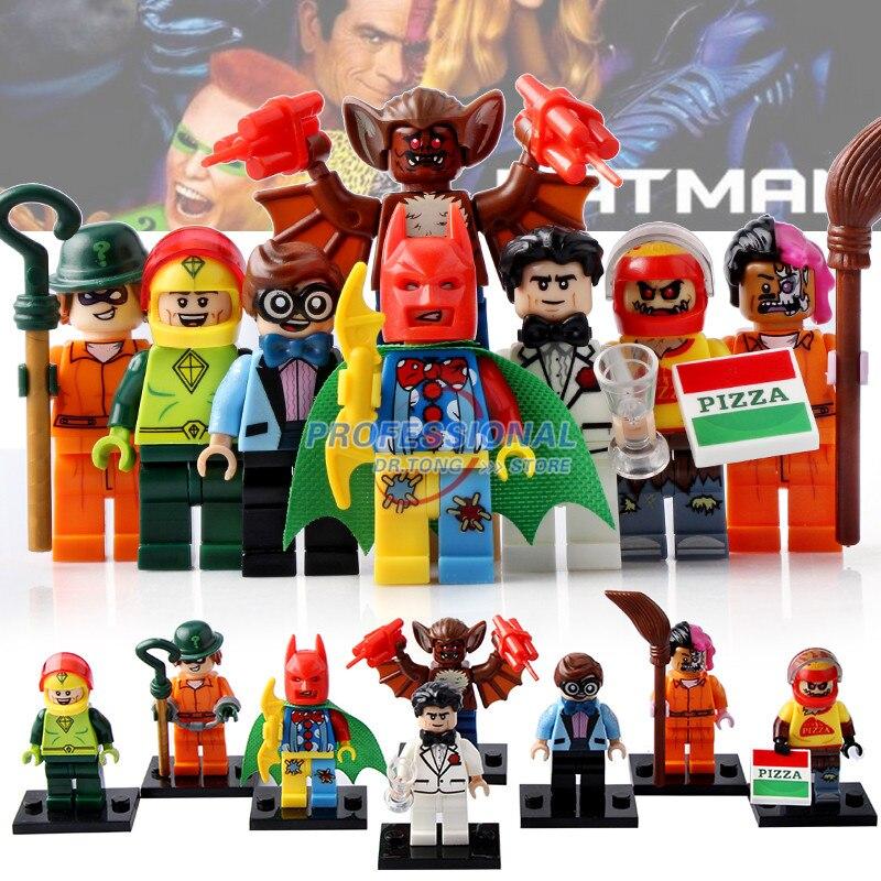 8PCS/LOT PG8042 Building Blocks Scarecrow Two-Face Bruce Wayne Robin Kite Man Man-Bat Super Heroes Bricks Kids DIY Toys
