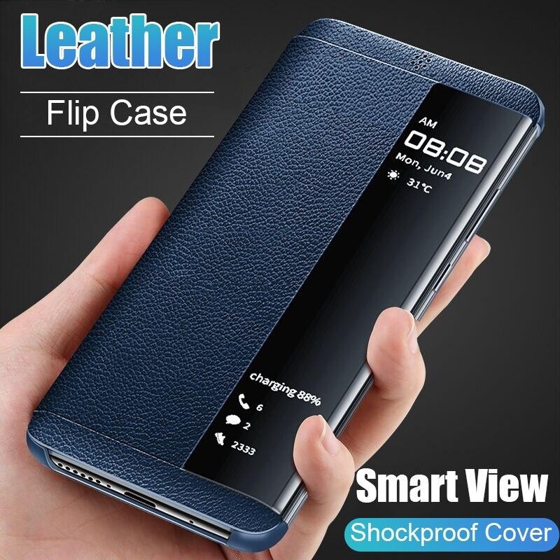 Housse de téléphone à rabat en cuir pour Samsung Samsung Galaxy S7 Edge S8 S9 S10 Plus Coque Mobile Funda avec fenêtre de vue intelligente