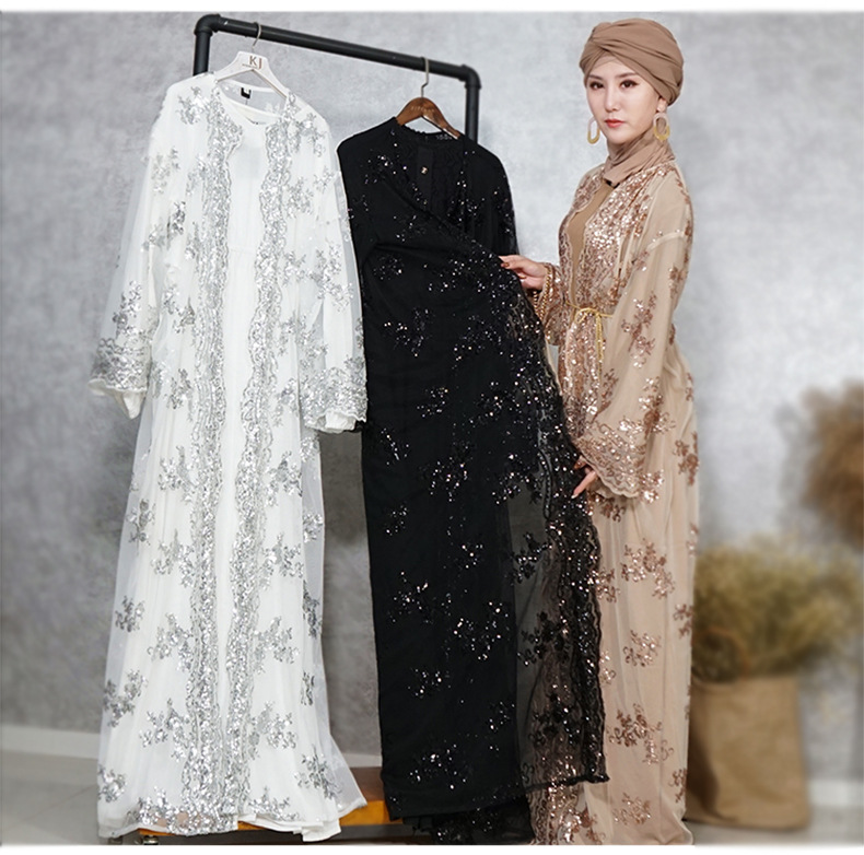 Bordado de Luxo Lantejoulas Abaya Muçulmano Maxi Vestido Cardigan Longo Robe Vestidos Jubah Kimono Ramadã Árabe Adoração Islâmica Serviço