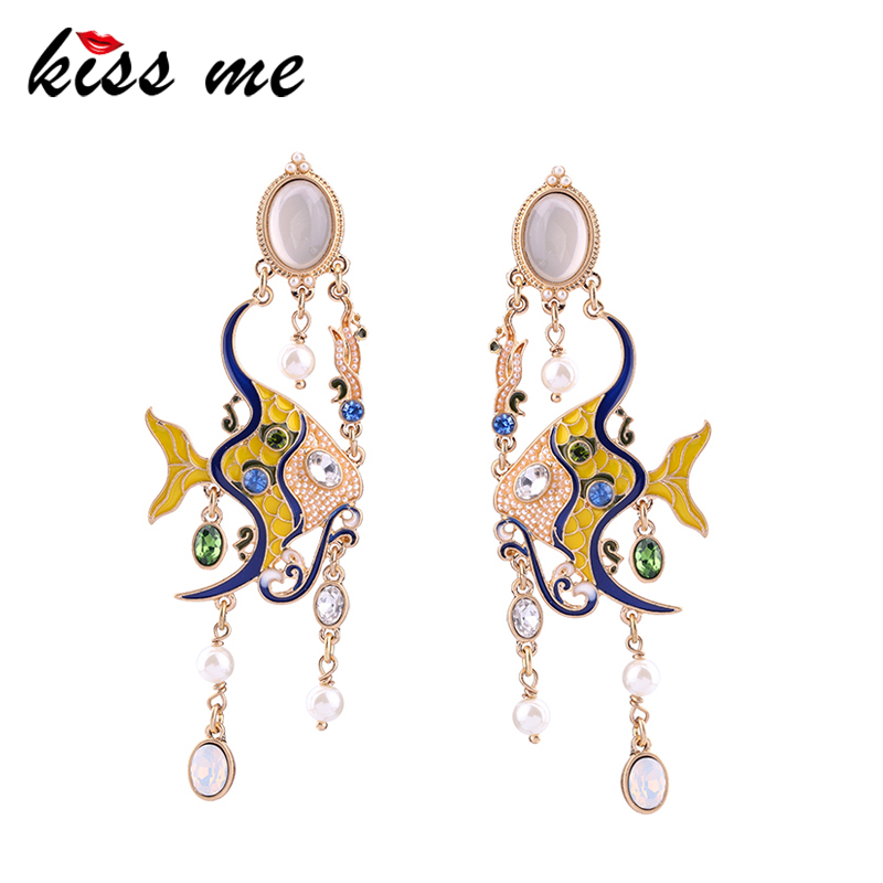 KISS ME Colorful Enamel Tropical Fish Simulated Pearls Big Earrings Hanging Drop Earrings Accessories for Women stylish tropical plant pattern big bowknot sun hat for women