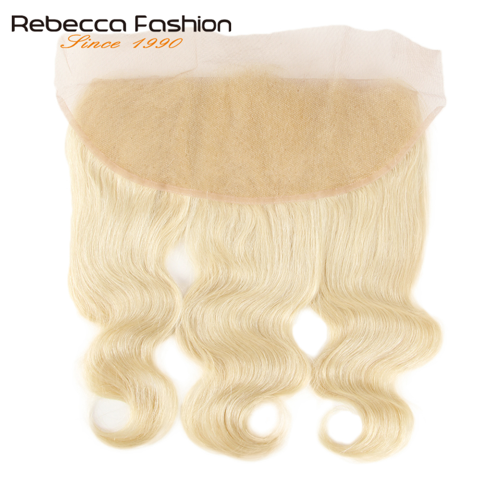 Rebecca Brazilian Body Wave 613 Blonde Lace Frontal Closure 13x4 Ear To Ear Frontal 100% Remy Human Hair Lace Frontal