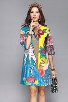 Vestido elegante informal con estampado de animales y lentejuelas media manga