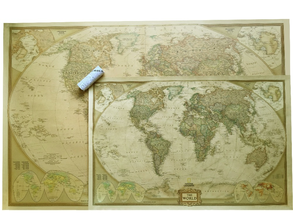 Vintage World Map Travel Home Decoration Detailed Antique Poster Wall Chart Retro Paper Matte Kraft Paper Map World world map wall sticker